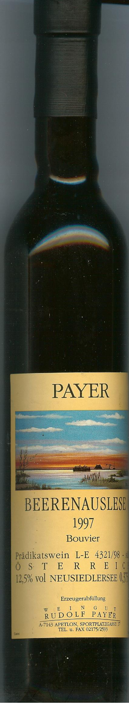 Autriche: Payer, beerenauslese  12,5° 1997 37,5Cl